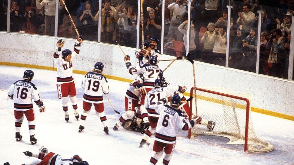 Hockey: 1980 Winter Olympics: Overall view of Team USA players victorious on ice after winning Medal Round game vs USSR at Olympic Fieldhouse in the Olympic Center. Miracle on Ice. Lake Placid, NY 2/22/1980 CREDIT: Heinz Kluetmeier (Photo by