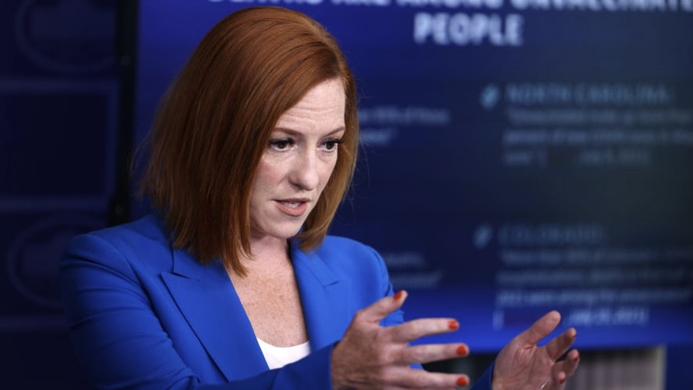 Jen Psaki Holds Daily White House Press Briefing WASHINGTON, DC - JULY 27: White House Press Secretary Jen Psaki gestures as she speaks at a daily press briefing in the James Brady Press Briefing Room of the White House on July 27, 2021 in Washington, DC. Psaki fielded questions from reporters on the potential updated CDC guidance on indoor mask-wearing for those vaccinated against COVID-19. (Photo by Anna Moneymaker/Getty Images) Anna Moneymaker / Staff via Getty Images