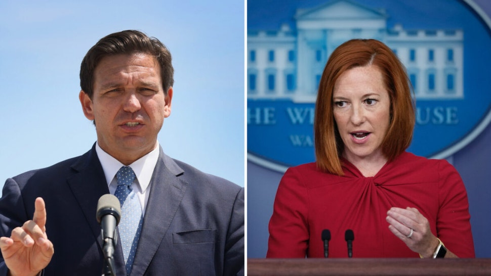 Florida Gov. Ron DeSantis speaks to the media about the cruise industry during a press conference at PortMiami on April 08, 2021 in Miami, Florida. White House Press Secretary Jen Psaki speaks during the daily press briefing at the White House on July 19, 2021 in Washington, DC.