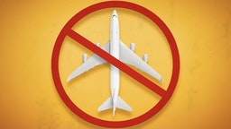 Travel Ban. Forbidden Airplane and Flight Ban Concept. - stock photo Constantine Johnny via Getty Images