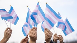 Transgender flags holding by people on a demontration - stock photo Transgender flags holding by people on a demontration Vladimir Vladimirov via Getty Images