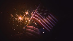 Flag and sparklers.