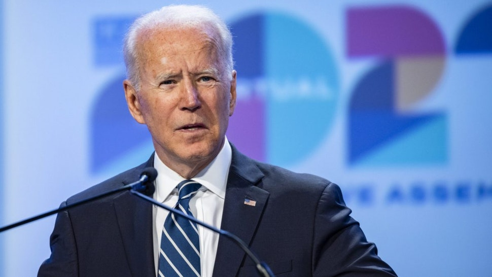 U.S. President Joe Biden speaks during the National Education Association's annual meeting and representative assembly event in Washington, D.C., U.S., on Friday, July 2, 2021.