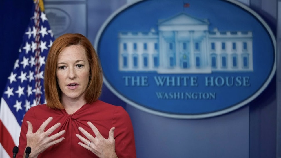 White House Press Secretary Jen Psaki Holds Daily Briefing At The White House WASHINGTON, DC - JULY 19: White House Press Secretary Jen Psaki speaks during the daily press briefing at the White House on July 19, 2021 in Washington, DC. Later this afternoon, President Joe Biden will meet with King Abdullah II of Jordan.(Photo by Drew Angerer/Getty Images) Drew Angerer / Staff via Getty Images