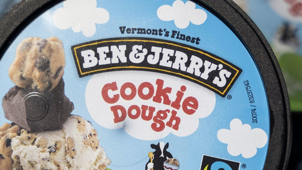 WASHINGTON, DC - MAY 20: Ben and Jerry's ice cream is stored in a cooler at an event where founders Jerry Greenfield and Ben Cohen gave away ice cream to bring attention to police reform at the U.S. Supreme Court on May 20, 2021 in Washington, DC. The two are urging the ending of police qualified immunity.
