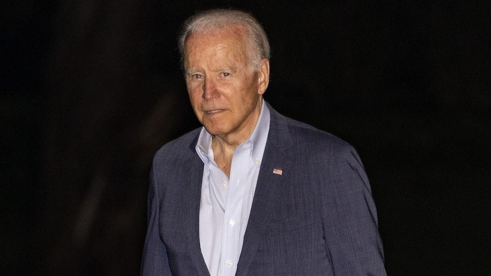 WASHINGTON, DC - JULY 11: President Joe Biden walks on the south lawn of White House after stepping of Marine One on July 11, 2021 in Washington, DC. President Joe Biden spend the weekend in Delaware.