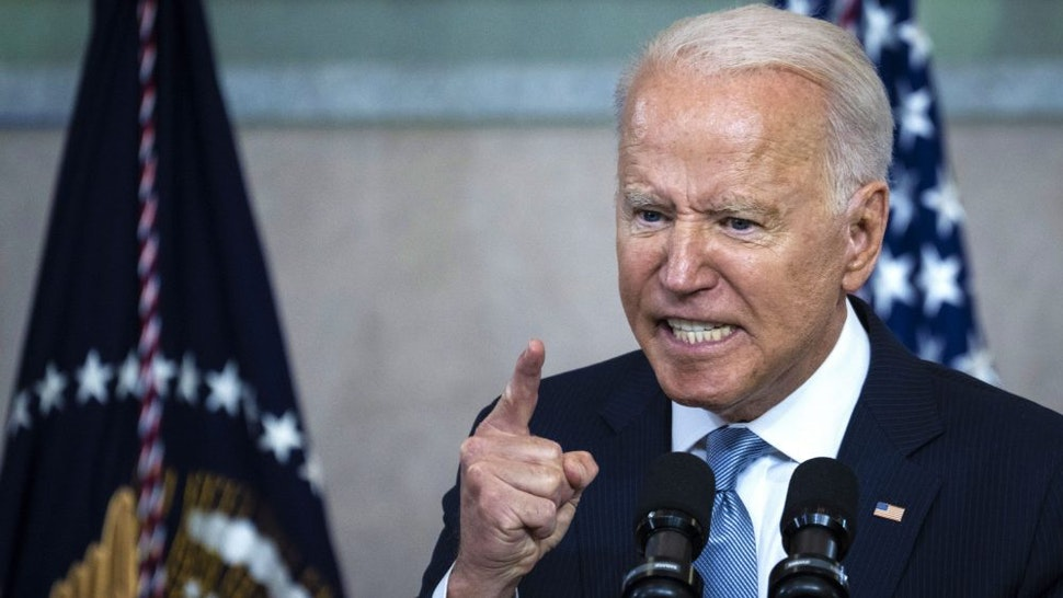 PHILADELPHIA, PA - JULY 13: U.S. President Joe Biden speaks about voting rights at the National Constitution Center on July 13, 2021 in Philadelphia, Pennsylvania. Biden and Congressional Democrats are set to make another push for sweeping voting rights legislation as Republican state legislatures across the country continue to pass controversial voting access laws.