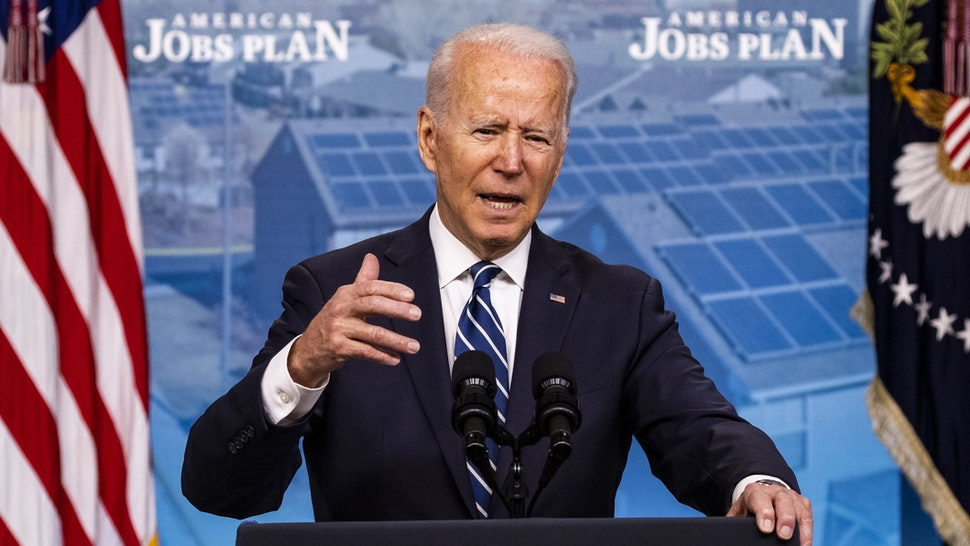 U.S. President Joe Biden speaks in the Eisenhower Executive Office Building in Washington, D.C., U.S., on Friday, July 2, 2021. U.S. job growth accelerated in June, suggesting firms are having greater success recruiting workers to keep pace with the broadening of economic activity.