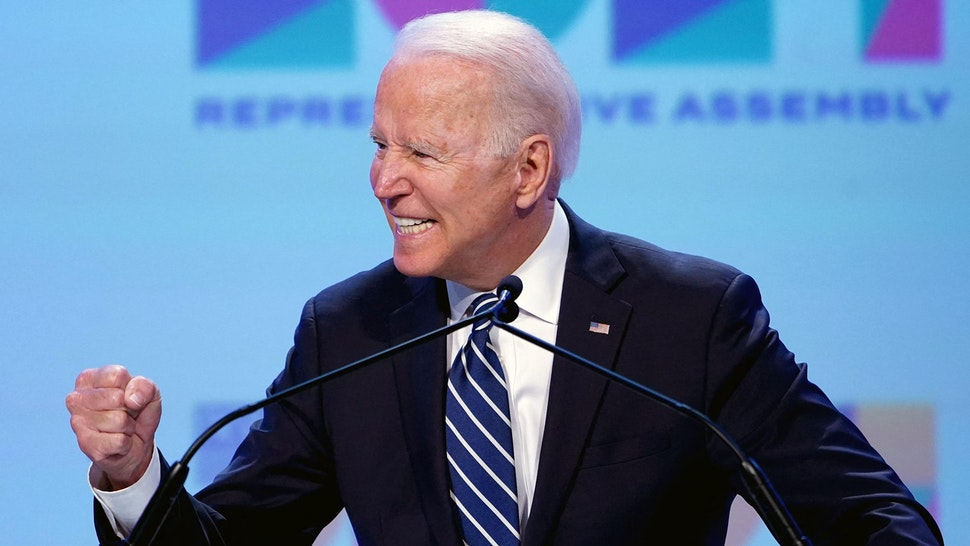 US President Joe Biden addresses the National Education Association's Annual Meeting and Representative Assembly in the Walter E. Washington Convention Center in Washington, DC on July 2, 2021.