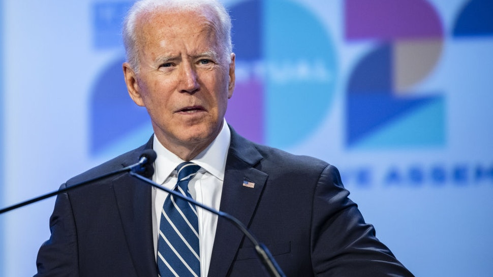 U.S. President Joe Biden speaks during the National Education Association's annual meeting and representative assembly event in Washington, D.C., U.S., on Friday, July 2, 2021. U.S. job growth accelerated in June, suggesting firms are having greater success recruiting workers to keep pace with the broadening of economic activity.