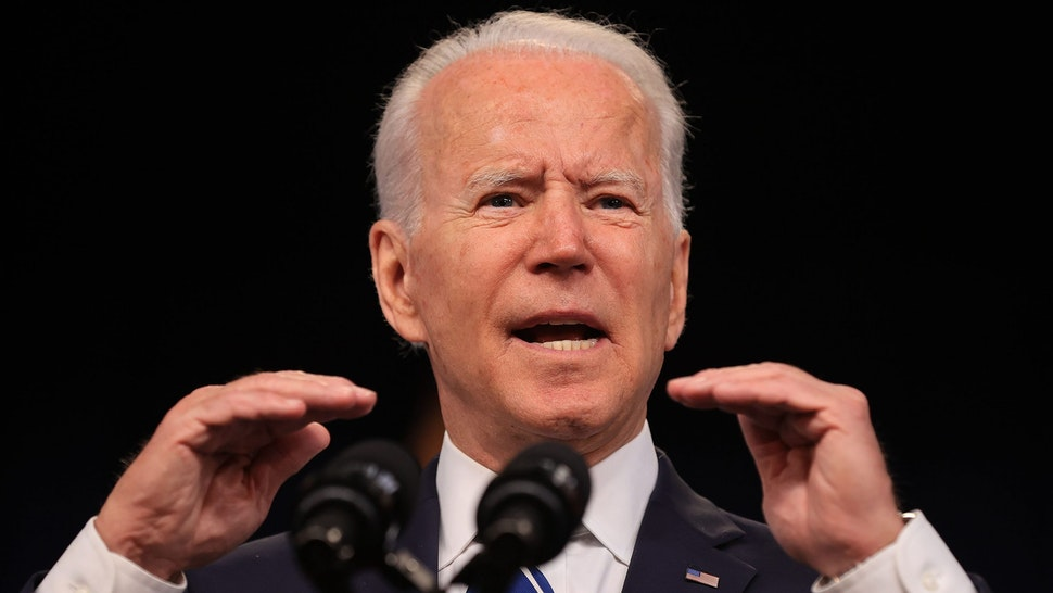 WASHINGTON, DC - JULY 02: U.S. President Joe Biden delivers remarks about the June jobs report in the South Court Auditorium in the Eisenhower Executive Office Building on July 02, 2021 in Washington, DC. Exceeding expectations, the U.S. economy added 850,000 jobs in June and the unemployment rate settled at 5.9%, according to the Bureau of Labor Statistics.