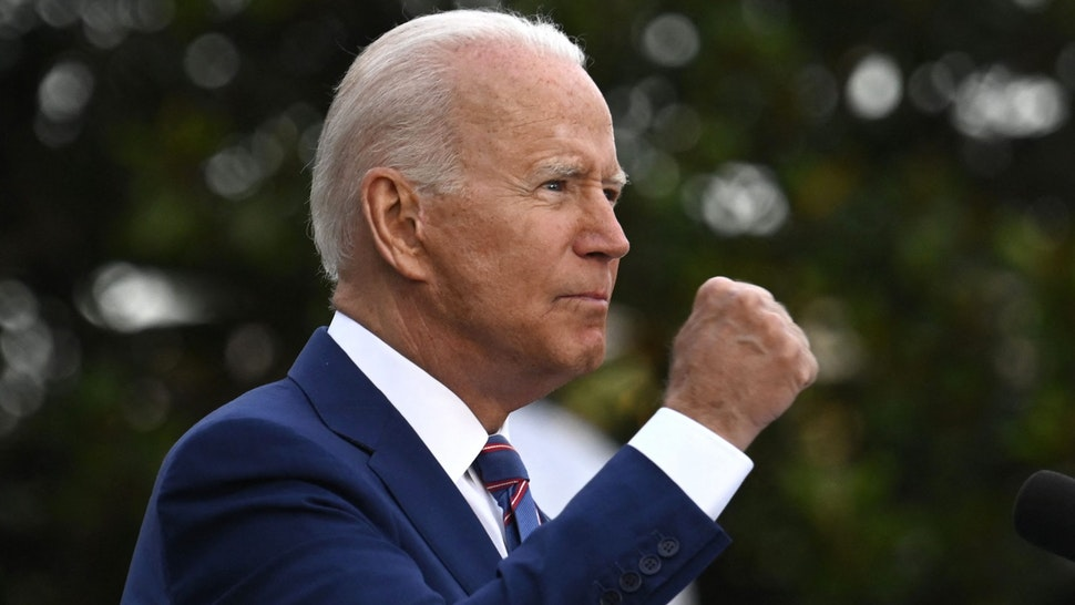 US President Joe Biden gestures as he speaks during Independence Day celebrations on the South Lawn of the White House in Washington, DC, July 4, 2021.