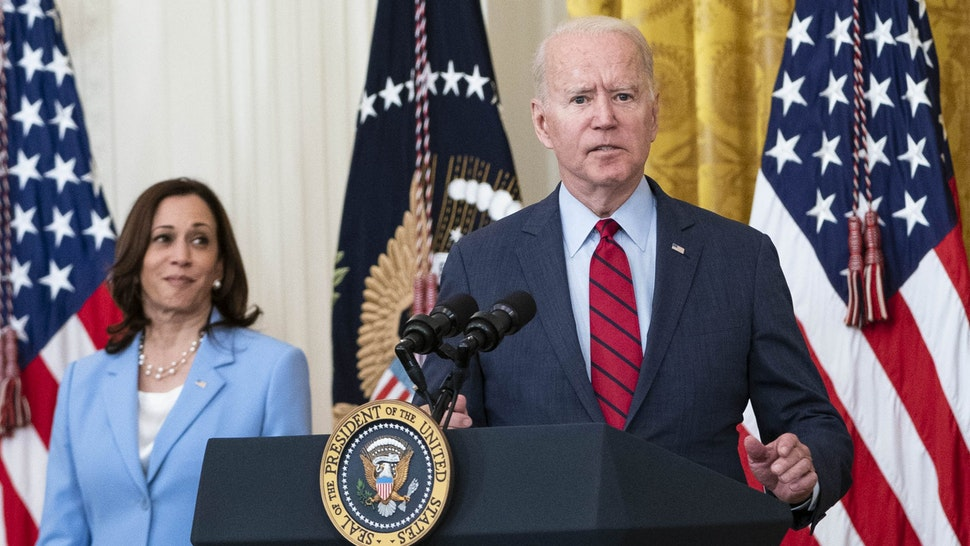 U.S. President Joe Biden speaks in the East Room of the White House in Washington, D.C., U.S., on Thursday, June 24, 2021. Biden said he's reached a tentative deal with a group of Democratic and Republican senators on a bipartisan, $559 billion infrastructure plan that would fulfill one of his top priorities.