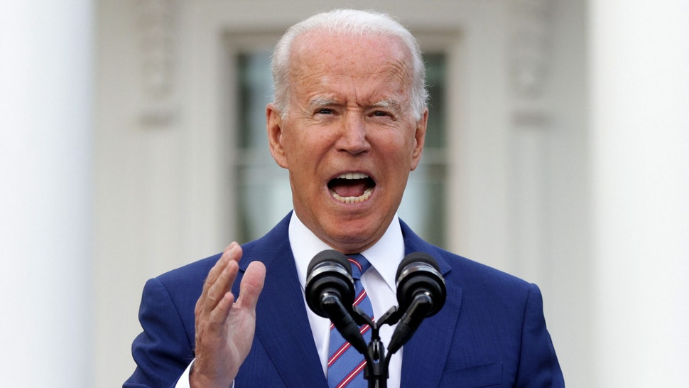 WASHINGTON, DC - JULY 04: U.S. President Joe Biden speaks during a Fourth of July BBQ event to celebrate Independence Day at the South Lawn of the White House July 4, 2021 in Washington, DC. President Biden and first lady Jill Biden hosted about 1,000 guests, including COVID response essential workers and military families, to celebrate the nation's 245th birthday.