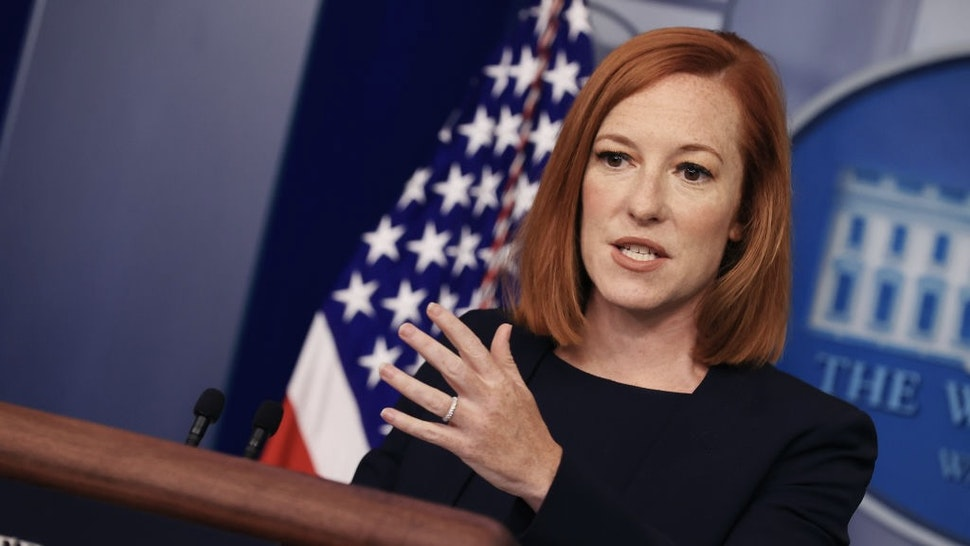 Press Secretary Psaki Briefs White House Media WASHINGTON, DC - JULY 12: White House Press Secretary Jen Psaki holds news conference with reporters in the Brady Press Briefing Room at the White House on July 12, 2021 in Washington, DC. Psaki was asked about anti-government protests in Cuba, the assassination of the Haitian president and ongoing work to vaccinate people against COVID-19. (Photo by Chip Somodevilla/Getty Images) Chip Somodevilla / Staff via Getty Images