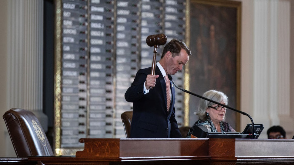 AUSTIN, TX - JULY 08: Texas Speaker of the House Dade Phelan, R-Beaumont, gavels in the 87th Legislature's special session in the House chamber at the State Capitol on July 8, 2021 in Austin, Texas. Republican Gov. Greg Abbott called the legislature into a special session, asking lawmakers to prioritize his agenda items that include overhauling the states voting laws, bail reform, border security, social media censorship, and critical race theory. (Photo by Tamir Kalifa/Getty Images)
