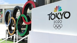 """NBC Olympics launches """"Rings Across America"""" Tour life-size set of iconic Olympic Rings at Universal Studios Hollywood on July 03, 2021 in Universal City, California."""