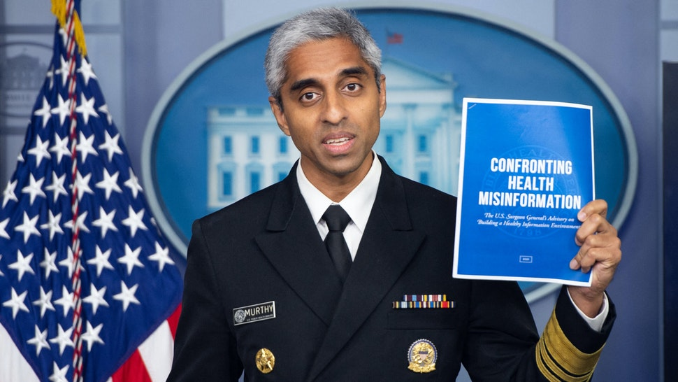 US Surgeon General Dr. Vivek H. Murthy speaks during a press briefing in the Brady Briefing Room of the White House in Washington, DC on July 15, 2021.