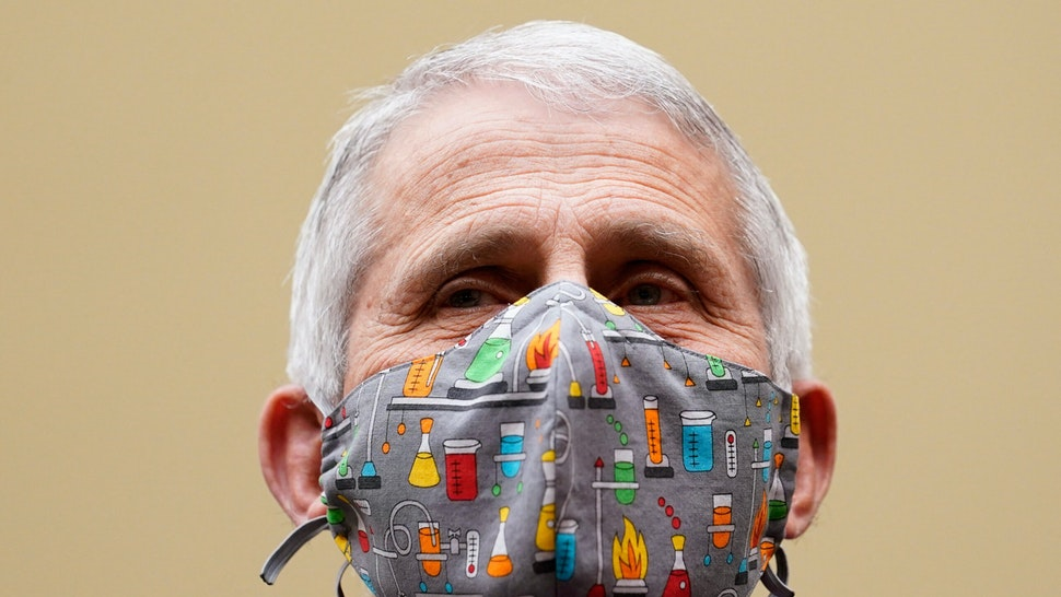 """Dr. Anthony Fauci, the nation's top infectious disease expert testifies before a House Select Subcommittee hearing on """"Reaching the Light at the End of the Tunnel: A Science-Driven Approach to Swiftly and Safely Ending the Pandemic,"""" on Capitol Hill in Washington, DC, April 15, 2021."""