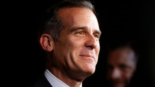 LIMA, PERU - SEPTEMBER 12: Eric Garcetti, Mayor of Los Angeles, talks to the press during the red carpet prior to the Opening Ceremony of the IOC Lima 2017 Session at Teatro Nacional de Lima on September 12, 2017 in Lima, Peru.