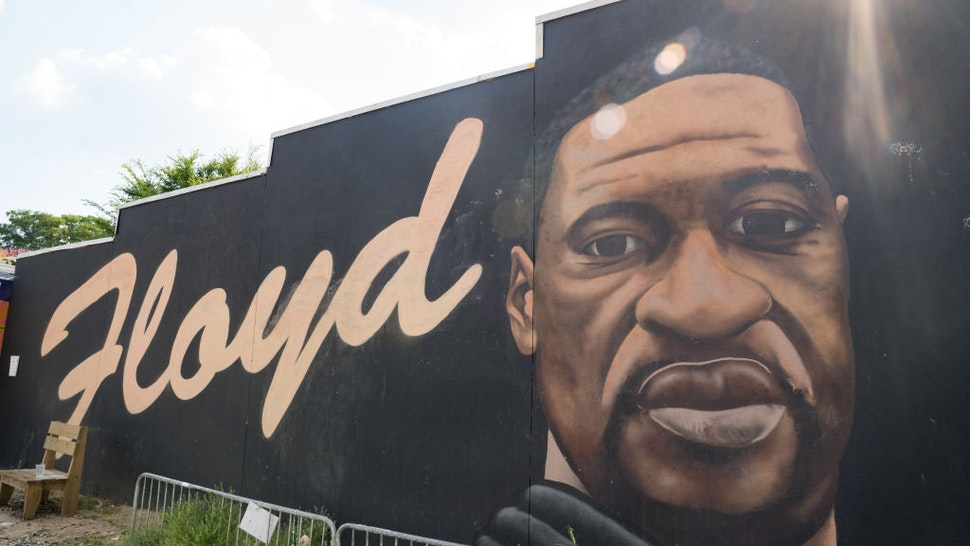 ATLANTA, GA - MAY 25: A mural of George Floyd painted downtown to memorialize the life of George Floyd is shown on the anniversary of his death on May 25, 2021 in Atlanta, Georgia. Floyd's death at the hands of Minneapolis police officer Derek Chauvin sparked protests and movements around the world. (Photo by Megan Varner/Getty Images)
