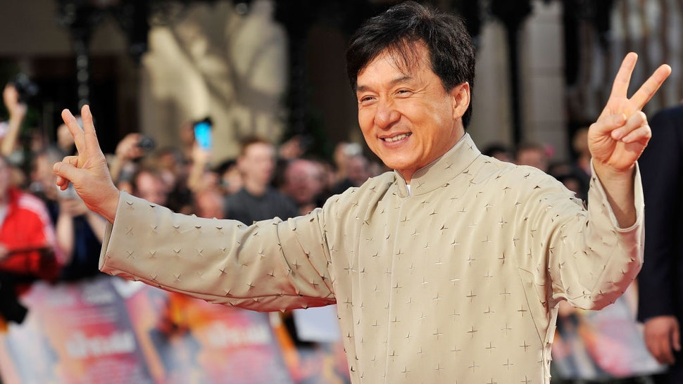 LONDON, ENGLAND - JULY 15: Jackie Chan attends the UK Film Premiere of The Karate Kid at Odeon Leicester Square on July 15, 2010 in London, England. (Photo by Gareth Cattermole/Getty Images)