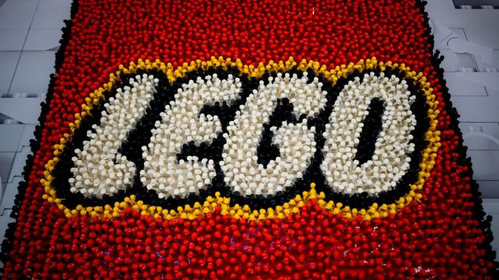 A Lego logo is pictured during the annual New York Toy Fair, at the Jacob K. Javits Convention Center on February 16, 2019 in New York City.
