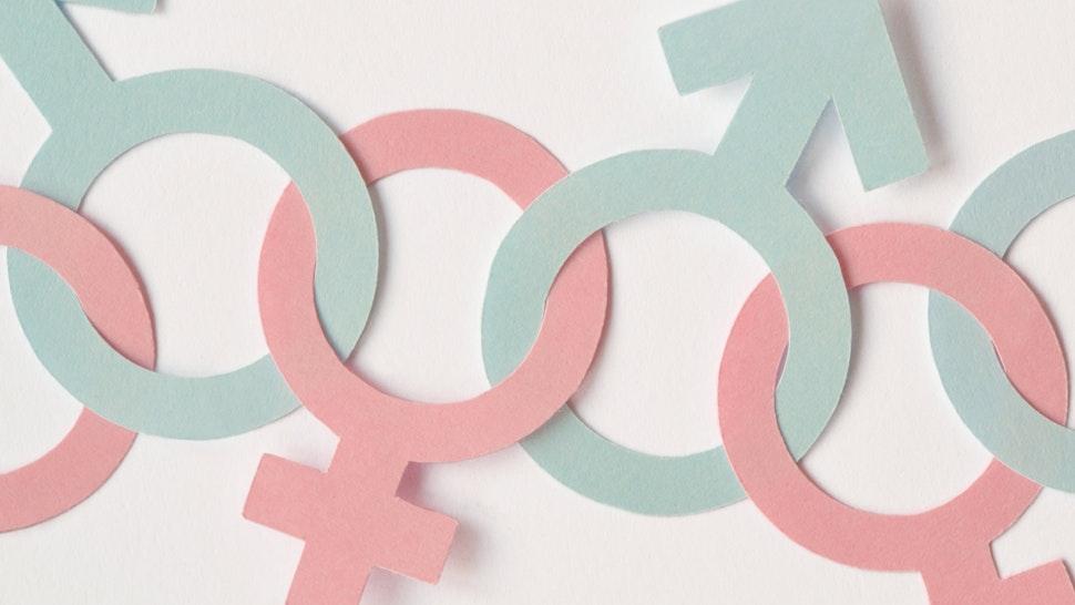 Close-Up Of Gender Symbols On White Background - stock photo