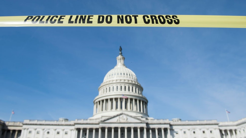 UNITED STATES - MARCH 13: Yellow police tape on the East Plaza with the Capitol dome in the backrground on Wednesday, March 13, 2019.
