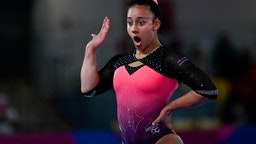 Costa Rica's Luciana Alvarado competes in women's individual floor during the Panamerican Games Lima 2019 in Lima, Peru, on July 29, 2019.