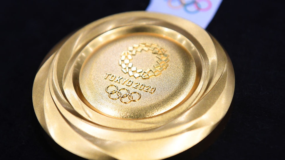"""TOKYO, JAPAN - JULY 24: The gold medal is displayed after the Tokyo 2020 medal design unveiling ceremony during Tokyo 2020 Olympic Games """"One Year To Go"""" ceremony at Tokyo International Forum on July 24, 2019 in Tokyo, Japan. (Photo by Atsushi Tomura/Getty Images)"""