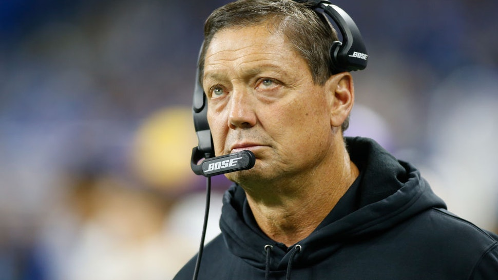 DETROIT, MI - OCTOBER 20: Minnesota Vikings offensive line coach Rick Dennison is seen on the sideline during regular season game action between the Minnesota Vikings and the Detroit Lions on October 20, 2019 at Ford Field in Detroit, Michigan. (Photo by Scott W. Grau/Icon Sportswire via Getty Images)