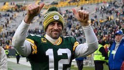 GREEN BAY, WISCONSIN - DECEMBER 08: Aaron Rodgers #12 of the Green Bay Packers reacts after getting the win against the Washington Redskins at Lambeau Field on December 08, 2019 in Green Bay, Wisconsin. (Photo by Quinn Harris/Getty Images)