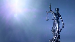 Lady Justice Or Justitia Holding Balance Scales - Panoamic Image Wih Copy Space. - stock photo
