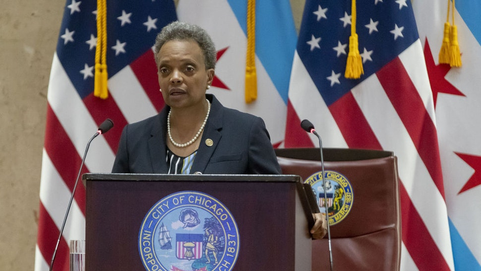 Chicago Mayor Lori Lightfoot speaks before delivering her budget address on October 21, 2020, in Council Chambers at City Hall. (Brian Cassella/Chicago Tribune/Tribune News Service via Getty Images)