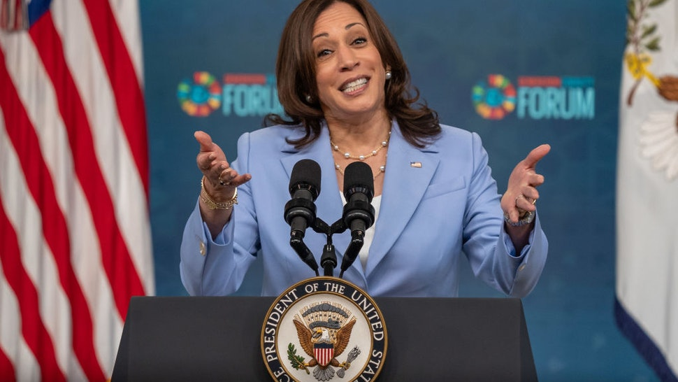 U.S. Vice President Harris speaks during the Generation Equality Forum in the Eisenhower Executive Office Building in Washington, D.C., U.S., on Wednesday, June 30, 2021.