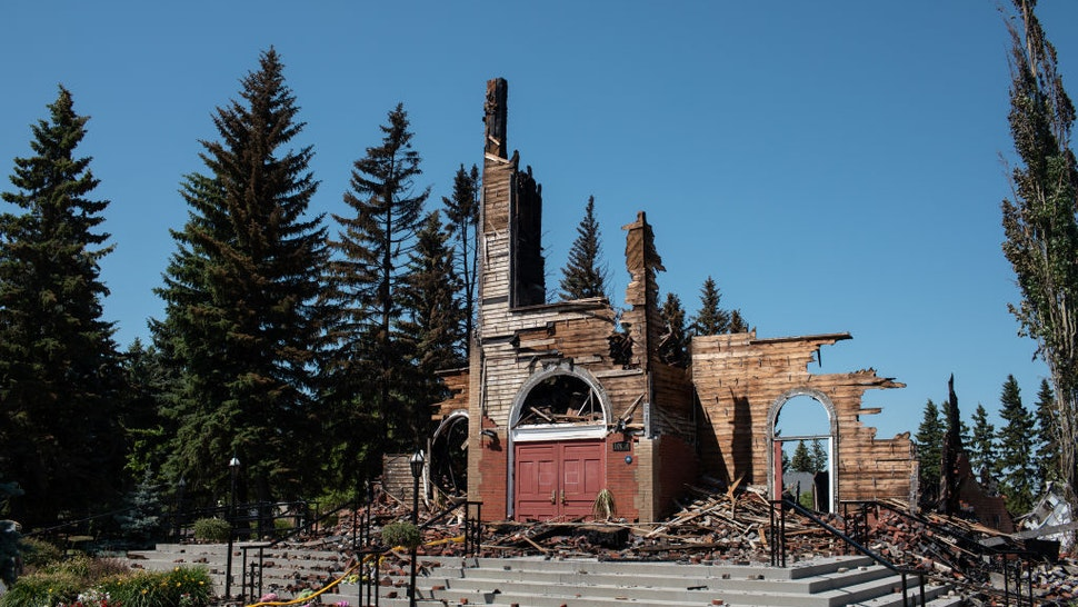 ALBERTA, CANADA - JULY 01: A view of the Roman Catholic St. Jean Baptiste church destroyed by fire in Morinville, Alberta on Thursday, July 1, 2021.