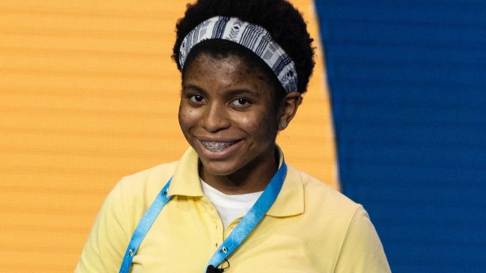 Zaila Avant-garde competes in the first round of the the Scripps National Spelling Bee finals in Orlando, Florida on July 8, 2021.