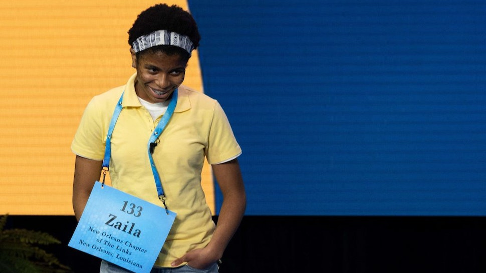 Zaila Avant-garde competes in the first round of the the Scripps National Spelling Bee finals in Orlando, Florida on July 8, 2021. (Photo by JIM WATSON / POOL / AFP) (Photo by JIM WATSON/POOL/AFP via Getty Images)