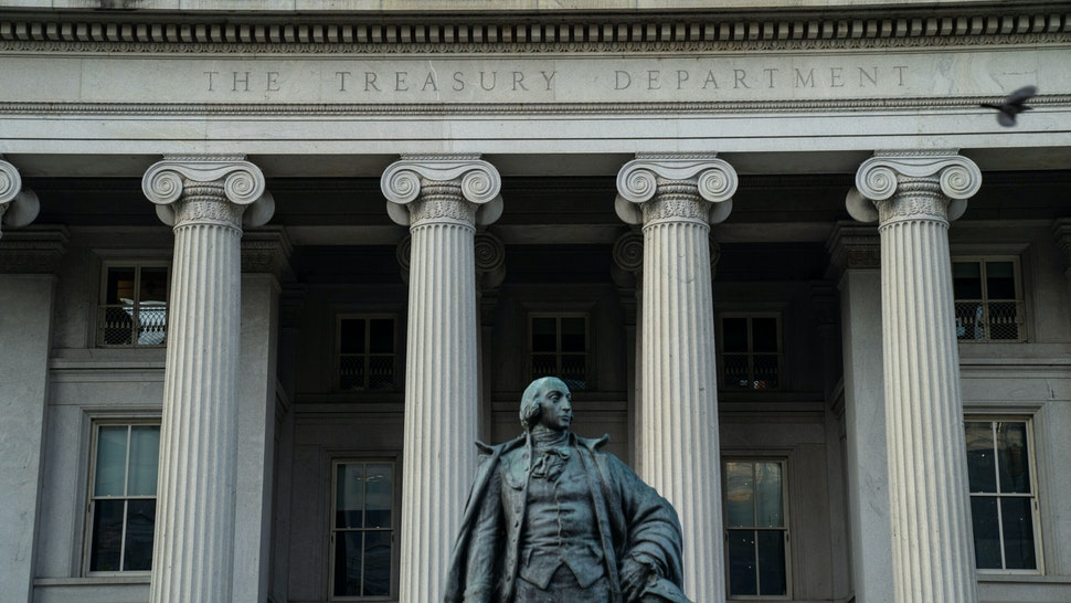 WASHINGTON, DC - JULY 16: The U.S. Treasury Building, photographed on Friday, July 16, 2021 in Washington, DC.