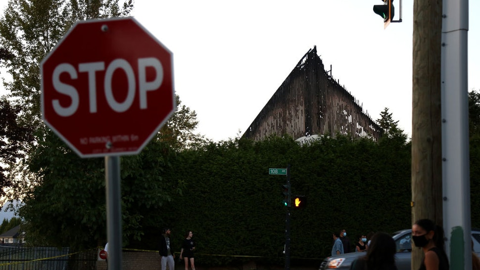 SURREY, BC - JULY 19 : St. George Coptic Orthodox Church is seen after it was destroyed by fire in Surrey, British Columbia, Canada on July 19, 2021.