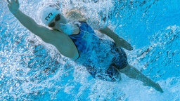 TOPSHOT - An underwater view shows USA's Kathleen Ledecky a heat for the women's 400m freestyle swimming event during the Tokyo 2020 Olympic Games at the Tokyo Aquatics Centre in Tokyo on July 25, 2021. (Photo by François-Xavier MARIT / AFP) (Photo by FRANCOIS-XAVIER MARIT/AFP via Getty Images)