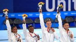 TOKYO, JAPAN JULY 27, 2021: Silver medallists Simone Biles, Jordan Chiles, Grace McCallum, and Sunisa Lee (L-R) of the United States pose at a victory ceremony for the women's artistic gymnastics team all-around event at the 2020 Summer Olympic Games, at the Ariake Gymnastics Centre. Sergei Bobylev/TASS (Photo by Sergei BobylevTASS via Getty Images)
