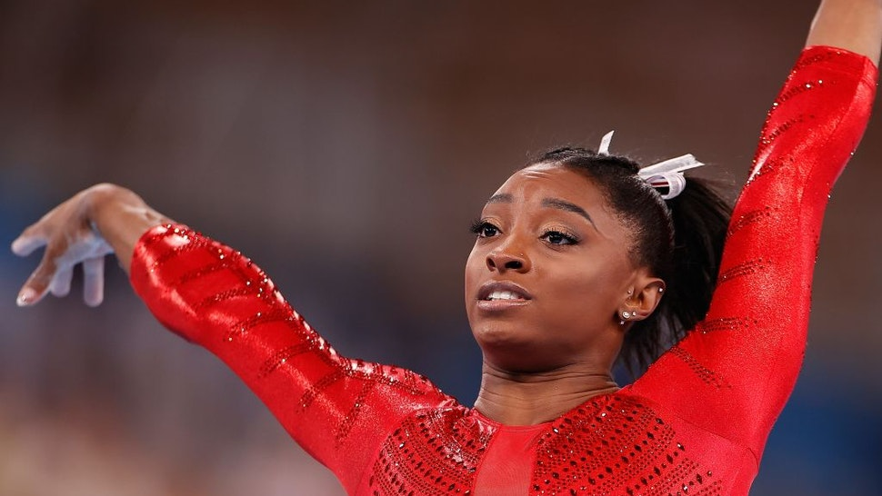 Simone Biles of the United States is seen after the vault of the artistic gymnastics women's team final at the Tokyo 2020 Olympic Games in Tokyo, Japan, July 27, 2021.