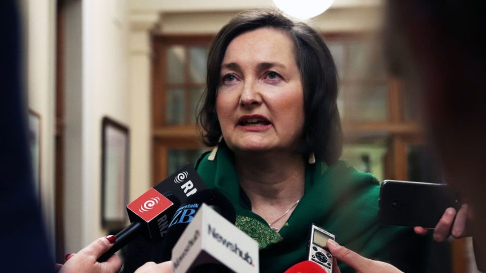 """WELLINGTON, NEW ZEALAND: University of Canterbury Professor Anne-Marie Brady, author of the research paper """"Magic Weapons: CCP Political Influence Activities Under Xi Jinping"""" about Chinese soft power and influence, talks to press gallery reporters on 9 May 2019 after making a submission to the Parliamentary select committee inquiry into foreign interference."""