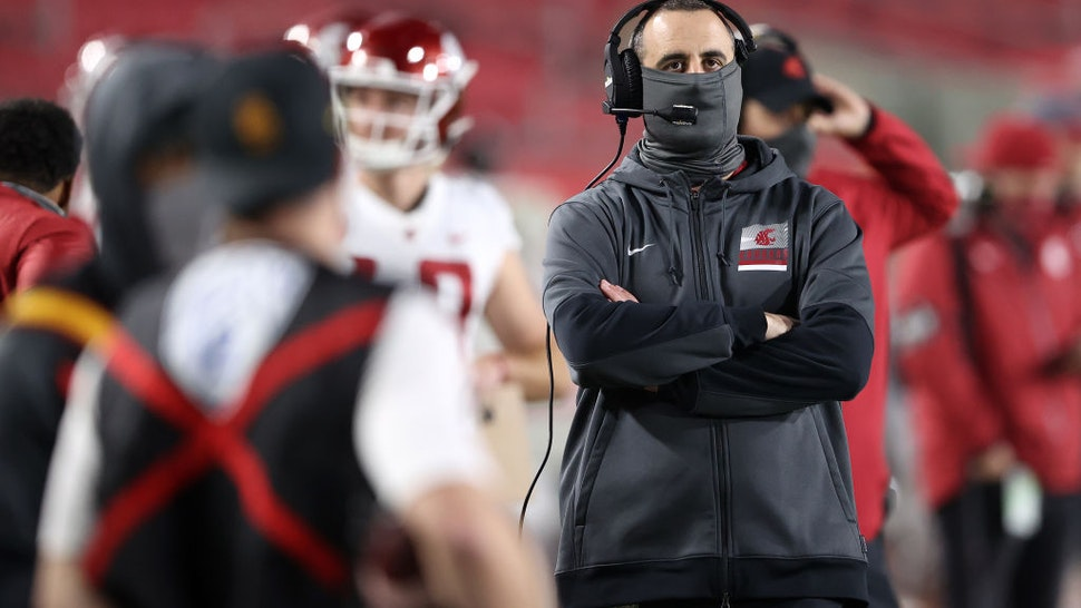LOS ANGELES, CALIFORNIA - DECEMBER 06: Head coach Nick Rolovich of the Washington State Cougars looks on during the second half of a game against the USC Trojans at Los Angeles Coliseum on December 06, 2020 in Los Angeles, California. (Photo by Sean M. Haffey/Getty Images)