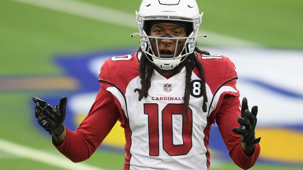 INGLEWOOD, CALIFORNIA - JANUARY 03: DeAndre Hopkins #10 of the Arizona Cardinals reacts to his pass interference penalty during an 18-7 Los Angeles Rams win at SoFi Stadium on January 03, 2021 in Inglewood, California. (Photo by Harry How/Getty Images)