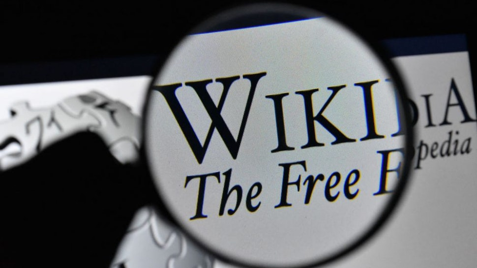 ANKARA, TURKEY - JANUARY 15: (BILD ZEITUNG OUT) In this photo illustration, The logo of Wikipedia is seen on the screen of a laptop with a magnifying glass on January 15, 2021 in Ankara, Turkey.