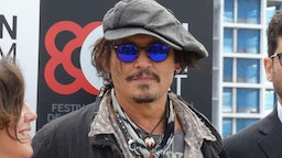 Johnny Depp poses after the press conference to present the film 'The Minamata Photographer' at the fifth edition of the BCN Film Fest, on April 16, 2021, in Barcelona, Catalonia (Spain).