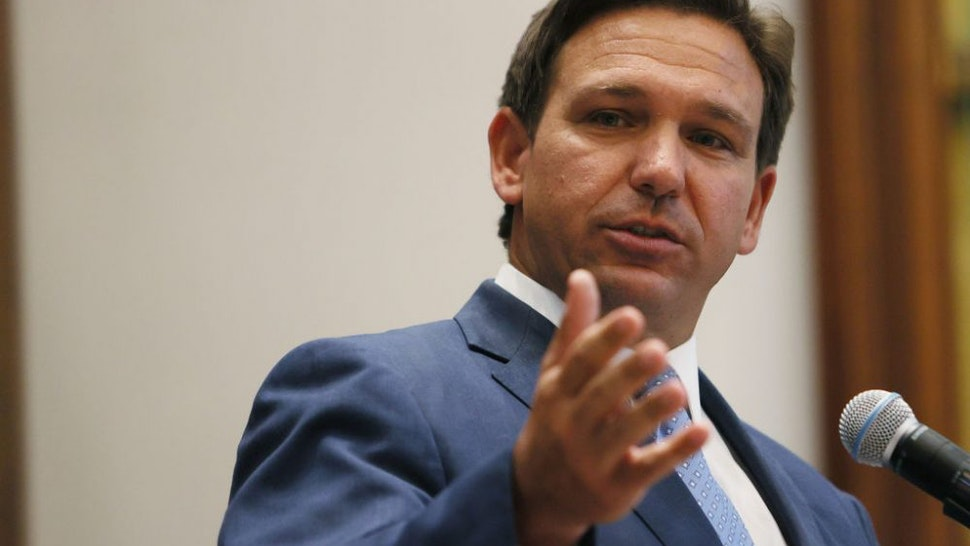 SURFSIDE, FLORIDA - JUNE 14: Florida Gov. Ron DeSantis speaks during a press conference at the Shul of Bal Harbour on June 14, 2021 in Surfside, Florida. The governor spoke about the two bills he signed HB 529 and HB 805. HB 805 ensures that volunteer ambulance services, including Hatzalah, can operate. HB 529 requires Florida schools to hold a daily moment of silence.